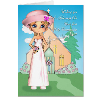 孫娘の最初聖餐式の小さな女の子 カード