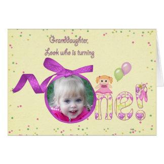 孫娘の最初誕生日の写真カード カード