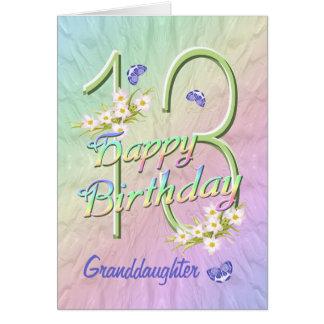 孫娘の第13誕生日の蝶庭カード カード