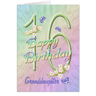 孫娘の第16誕生日の蝶庭カード カード