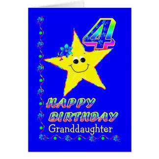 孫娘の第4誕生日の星 カード