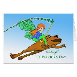 孫娘、カエルの妖精のためのセントパトリックの日 カード