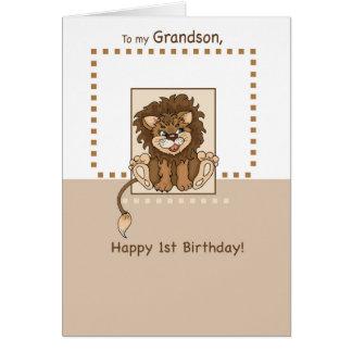 孫、幸せな第1誕生日の赤ん坊のライオン グリーティングカード