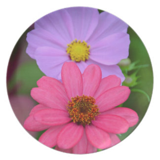 宇宙および《植物》百日草の花柄 プレート