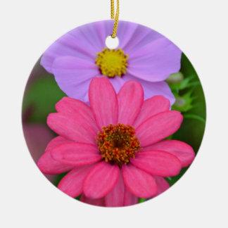 宇宙および《植物》百日草の花柄 陶器製丸型オーナメント