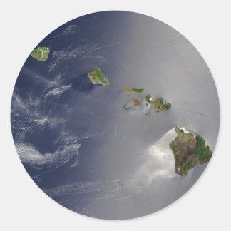 宇宙からのハワイの眺め ラウンドシール
