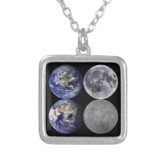 宇宙からの地球及び月 シルバープレートネックレス