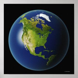 宇宙から見られる北アメリカ ポスター