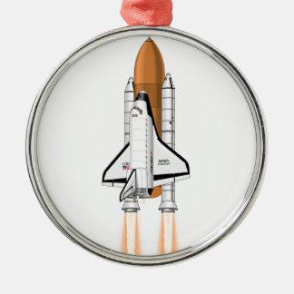宇宙に押し出すスペースシャトル メタルオーナメント