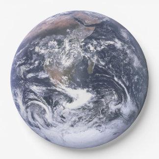 宇宙のアースデーの紙皿からの惑星の地球 ペーパープレート