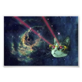 宇宙のガラスを持つレーザー猫 フォトプリント