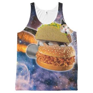 宇宙のタコス猫そしてロケットのハンバーガー オールオーバープリントタンクトップ