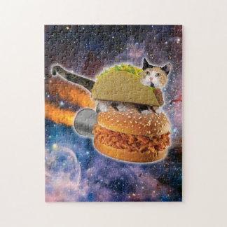 宇宙のタコス猫そしてロケットのハンバーガー ジグソーパズル