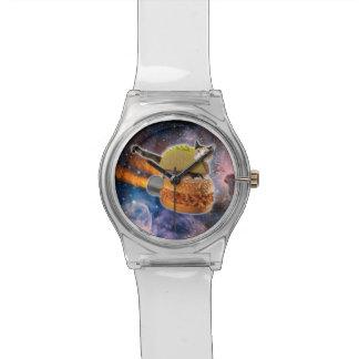 宇宙のタコス猫そしてロケットのハンバーガー 腕時計