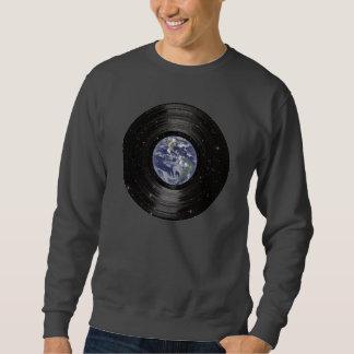 宇宙のビニールLPの記録の地球 スウェットシャツ