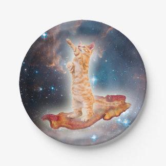 宇宙のベーコンのサーフィン猫 ペーパープレート
