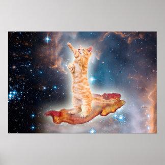 宇宙のベーコンのサーフィン猫 ポスター