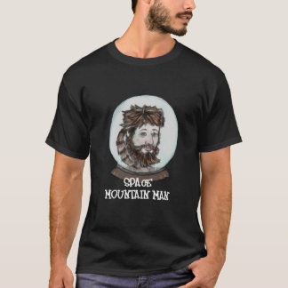 宇宙のマウンテンマンの黒のTシャツ Tシャツ