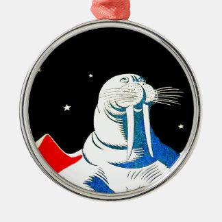宇宙の宇宙飛行士のセイウチ メタルオーナメント
