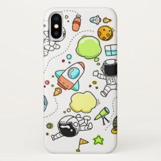宇宙の宇宙飛行士のロケットの惑星のデザインの電話箱 iPhone X ケース