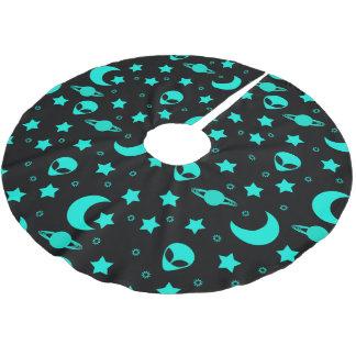 宇宙の明るい水の青い外国の頭部 ブラッシュドポリエステルツリースカート
