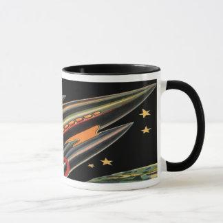 宇宙の星によるヴィンテージの空想科学小説のロケットの船 マグカップ