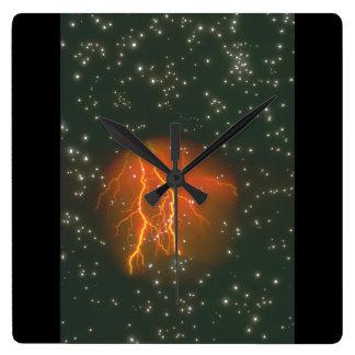 宇宙の稲妻。 (galaxy_Space場面 スクエア壁時計