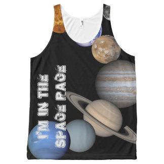 宇宙の競争の衣類の傾向-太陽系の惑星 オールオーバープリントタンクトップ