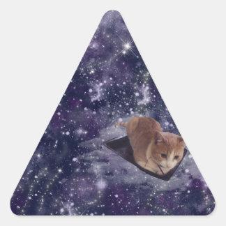 宇宙の紫色の銀河系の猫 三角形シール