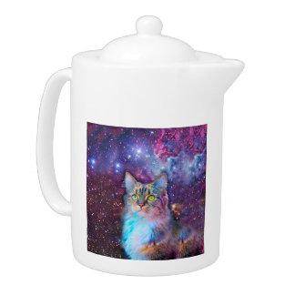 宇宙の背景を持つ誇りを持ったな猫
