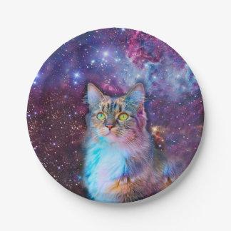 宇宙の背景を持つ誇りを持ったな猫 ペーパープレート