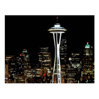 宇宙の針との夜のシアトルのスカイライン、 ポストカード