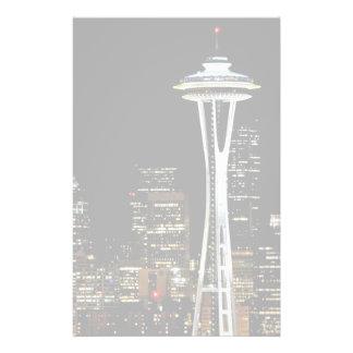 宇宙の針との夜のシアトルのスカイライン、 便箋