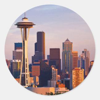 宇宙の針はシアトルの薄暗がりにタワーです ラウンドシール
