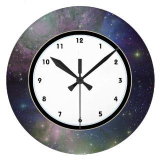 宇宙の銀河系、星および星雲の天文学 ラージ壁時計