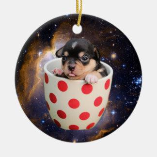 宇宙の陽気なティーカップの子犬 セラミックオーナメント