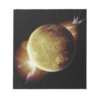宇宙の黄色い惑星3dのイラストレーション ノートパッド