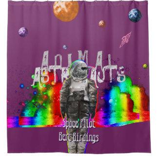 宇宙のAstroの鳥の宇宙飛行士の宇宙飛行士 シャワーカーテン