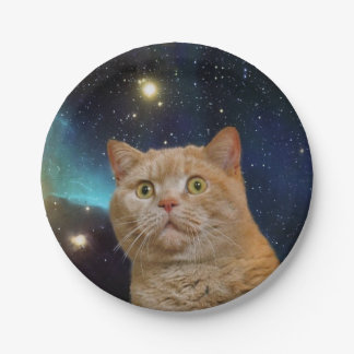 宇宙を凝視している猫 ペーパープレート
