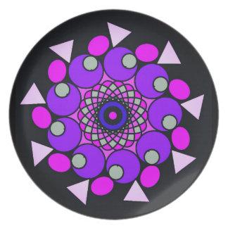 宇宙ピンクの紫色の黒く幾何学的な円のプレート プレート