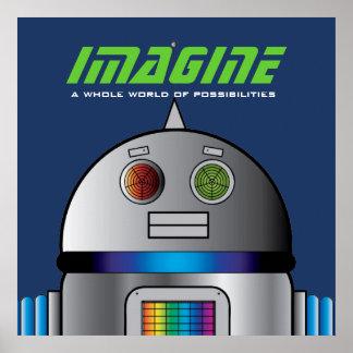宇宙ロボットの名前入りな子供部屋の芸術ポスター ポスター