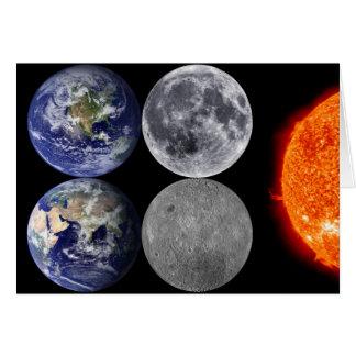 宇宙及び日曜日からの地球及び月 カード