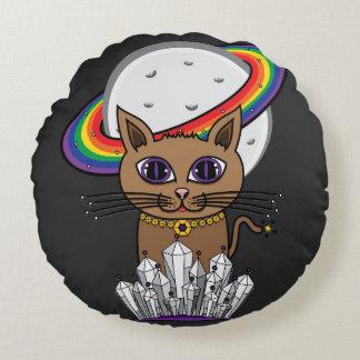 宇宙土星の虹猫-紫色 ラウンドクッション