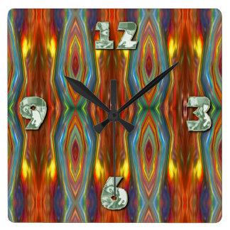 宇宙孔雀のファンタジアの抽象美術 スクエア壁時計