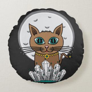 宇宙月猫-ターコイズ ラウンドクッション
