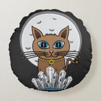 宇宙月猫-青 ラウンドクッション