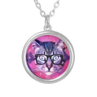 宇宙猫 シルバープレートネックレス