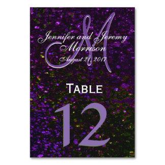 宇宙紫色のモノグラムのテーブル数 カード