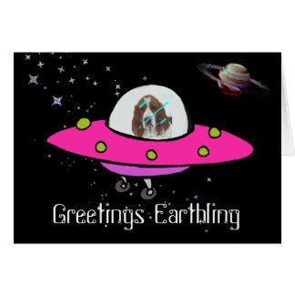宇宙船および土星のバースデー・カードw/Basset カード