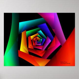 宇宙花のかわいくクールでモダンな抽象美術 ポスター